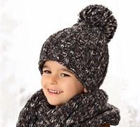 .AJS комплект 38-526 шапка двойная вязка + шарф (р.54-56)