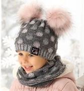 .AJS комплект 38-456 шапка двойная вязка + снуд (р.52-54)