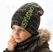 .AJS комплект 38-582 шапка двухсторонняя + снуд (р.54-56)