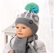 .AJS комплект 38-423 шапка вязаная, подклад флис + шарф (р.40-42)