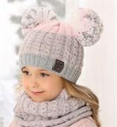 .AJS комплект 38-489 шапка двойная вязка + снуд (р.50-52)