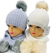 AGBO комплект 2267 Alama шапка двойная вязка, подклад полоска флиса + шарф (р.50-52)