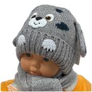 amal комплект, шапка вязаная, подклад флис + шарф (р.48-50) собака