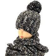 .AJS комплект 38-526 шапка для мальчика двойная вязка + шарф (р.54-56)