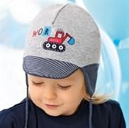 .AJS шапка с козырьком 40-055S двойной трикотаж (р.44-46)