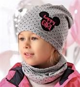 .AJS комплект 40-095L шапка одинарный трикотаж + снуд (р.52-54)