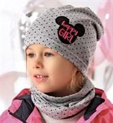 .AJS комплект 40-095M шапка одинарный трикотаж + снуд (р.48-50)