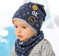.AJS комплект 40-070S шапка одинарный трикотаж + снуд (р.44-46)