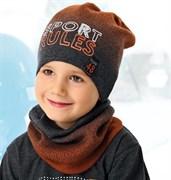 .AJS комплект 40-224 шапка одинарная вязка + снуд (р.52-54)