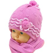 GRANS комплект A 418 шапка вязаная, подклад флис + шарф (р.42-44)