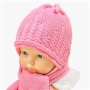 GRANS комплект A 521 шапка вязаная, подклад флис + шарф (р.38-40) розовый