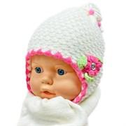 GRANS комплект AM19 шапка вязаная, подклад флис + шарф (р.38-40)