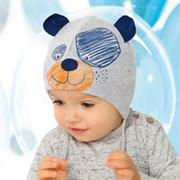 .AJS шапка 40-069XS двойной  трикотаж с завязками (р.40-42)