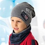 .AJS комплект 40-201L шапка одинарн.трикотаж + снуд (р.52-54)
