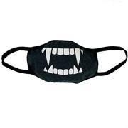 маска на лицо (трикотажная двухслойная) рисунок- зубы серая