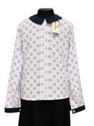 Catherine блузка длинный рукав, прямая, круги, белая (р-ры:128-158)