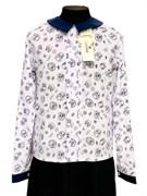 Catherine блузка длинный рукав, прямая, совы, белая (р-ры128-158)