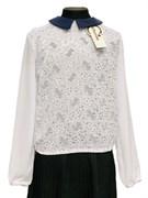 Catherine блузка длинный рукав, гипюровая,белая (р.128-158)