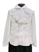блузка ЛЮТИК модель 20180 длинный рукав, белая (рост 128,134,134,140,140)