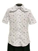 блузка ЛЮТИК модель 20201 короткий рукав, белая (рост128,134,140,146,152)