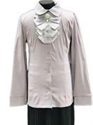 блузка ЛЮТИК модель 20168 длинный рукав, жабо, серая (рост128,134,140,146,152)