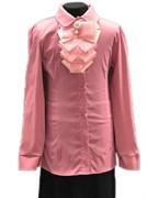 блузка ЛЮТИК модель 20168 длинный рукав, жабо, розовая (рост128,134,140,146,152)