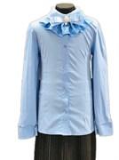 блузка ЛЮТИК модель 20175 длинный рукав, бант, голубая (рост128,134,140,146,152)
