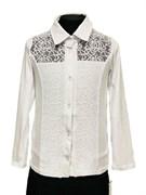 блузка ЛЮТИК модель 10113 длинный рукав,трикотажная, белая (р.128)