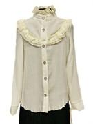 блузка ЛЮТИК модель 20150 длинный рукав, кремовая (рост128,134,140,146,152)