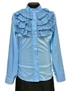 блузка ЛЮТИК модель 20159 длинный рукав, голубая (рост128,134,140,146,152)