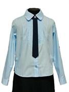 BG блузка длинный рукав, c галстуком, плиссе, голубая (рост 134-164) 6шт.