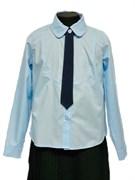 BG блузка длинный рукав c галстуком, голубая (рост 134-164) 6шт.