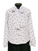 Catherine блузка длинный рукав, прямая, белая, сердце на горохе (р.128-158)