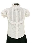 BG блузка короткий рукав, вставка шитье, белая (р.34-44)