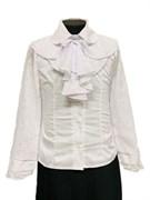 блузка ЛЮТИК модель 20103 длинный рукав, жабо, белая (рост128,134,140,146,152)