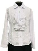 блузка ЛЮТИК модель 20129 длинный рукав, жабо,белая (рост128,134,140,146,152)