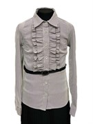 TALKA блузка длинный рукав, с ремешком, серая (р.134-164)