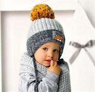 .AJS комплект 40-432 шапка вязаная на флисе + шарф (р.48-50)