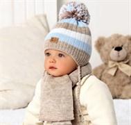 .AJS комплект 40-411 шапка двойная вязка+ шарф (р.40-42)