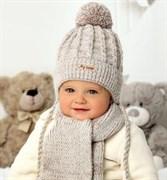 .AJS комплект 40-416 шапка вязаная на флисе + шарф (р.44-46)