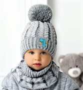 .AJS комплект 40-430 шапка вязаная, подклад флис+снуд (р.50-52)