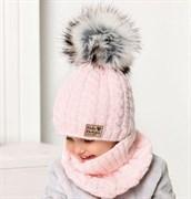 .AJS комплект 40-444 шапка двойная вязка +снуд (р.52-54)
