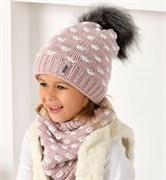 .AJS комплект 40-498 шапка двойная вязка + снуд (р.54-56)