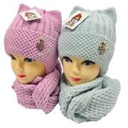LVG комплект: шапка с утеплителем, подклад хлопок + шарф (р.50-52)
