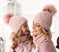 .AJS комплект 40-603 шапка двойная вязка +снуд (р.54-56)