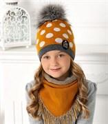 .AJS комплект 40-477 шапка двойная вязка + платок (р.52-54)