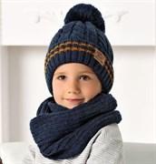 .AJS комплект 40-502 шапка на флисе +шарф (р.54-56)