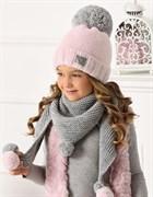 .AJS комплект 40-483 шапка двойная вязка + платок (р.52-54)