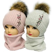 LAMIR комплект Дарья шапка с натуральным помпоном, c утеплителем + снуд (р.54-54)