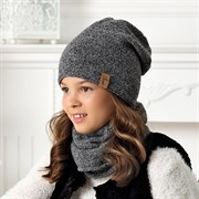 .AJS комплект 40-540 шапка двойная вязка +снуд (р.54-56)